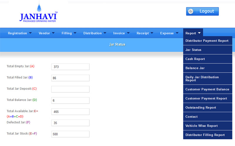 Water Jar Manangemnt Software | VSP Softtech Systems